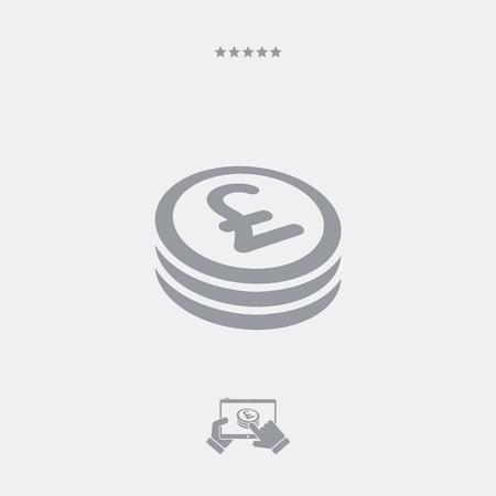 sterlina: icona piatta moneta Sterling Vettoriali