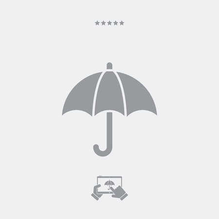 Umbrella button - Minimal vector icon