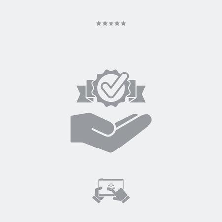 Oferta de servicio: compruebe la mejor solución: icono mínimo Ilustración de vector