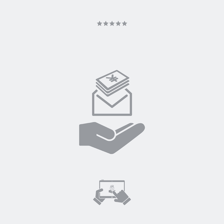 payola: Give envelope with Yen banknotes - Minimal icon