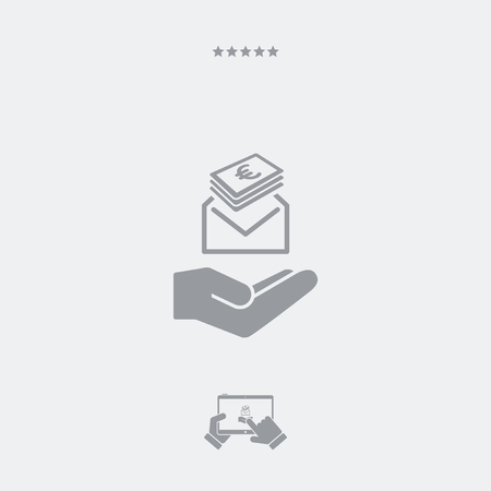 payola: Give envelope with Euro banknotes - Minimal icon Illustration