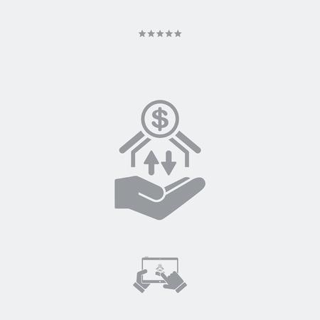 money transfer: Money transfer services - Dollars - Minimal icon Illustration