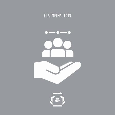 Oferta de servicios - equipo de grupo de trabajo - icono Mínimo Ilustración de vector