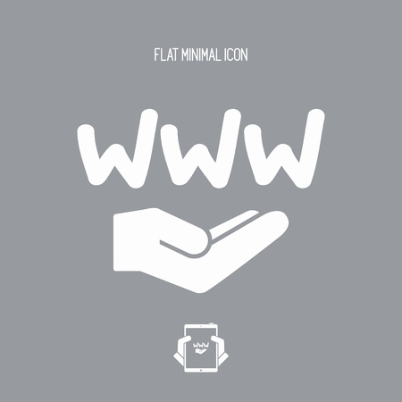 tablet pc in hand: Web service - Minimal vector icon Illustration