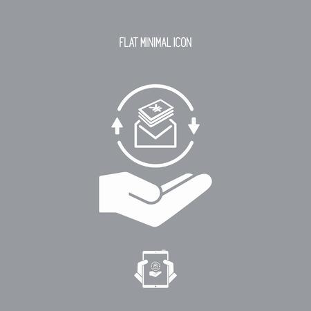 Enveloppe contenant Yen - icône plat moderne Minimal