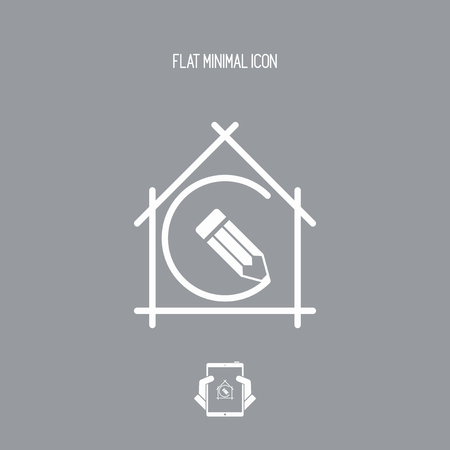 furnishings: House planning - project design - Vector flat icon Illustration