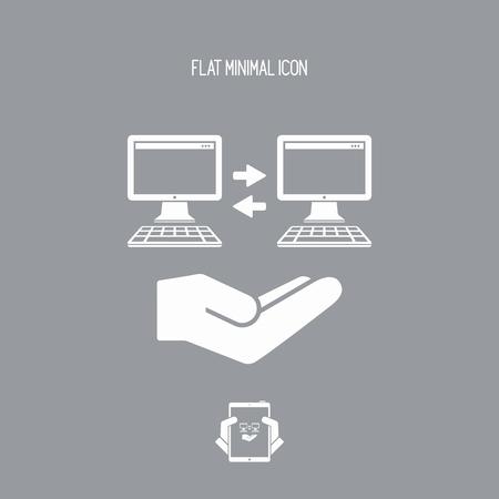 storage device: Service offer - Computer synchronization - Minimal icon Illustration