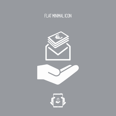 Give envelope with Euro banknotes - Minimal icon Illustration