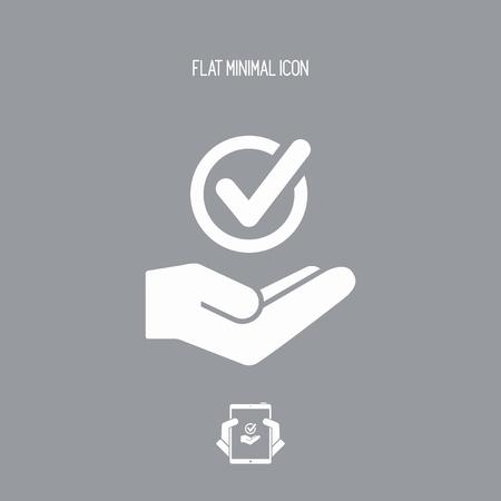 Oferta de servicios - Verifique la opción - Ícono mínimo Ilustración de vector
