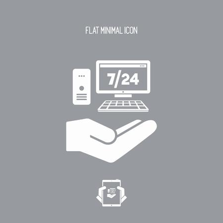 7/24 servicio de asistencia informática - Vector icono plano