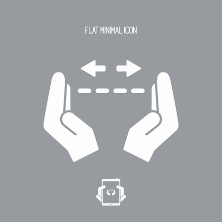 depth measurement: Hands in gesture of measuring - Vector minimal icon