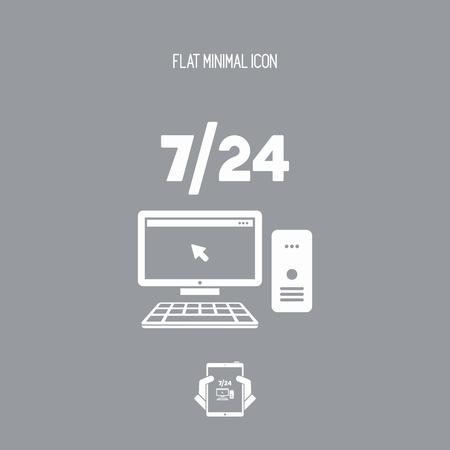7/24 serviço de assistência de computador - ícone plana de vetor