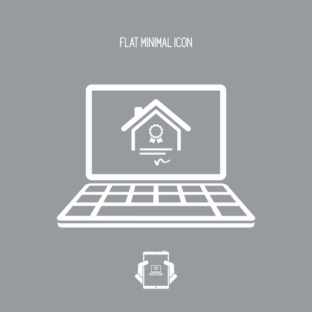 house for sale: Residential document service - Vector flat icon Illustration