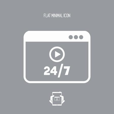 マルチ メディア サービスのオンライン 24/7 - ベクトル フラット アイコン