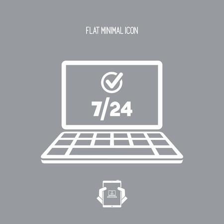 7/24 servicios informáticos - Vector icono plano