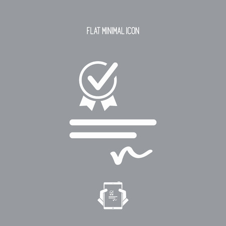 Checking certificate - Vector web icon Illustration