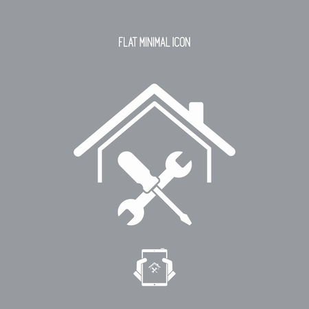 screwing: House repair services - Vector web icon