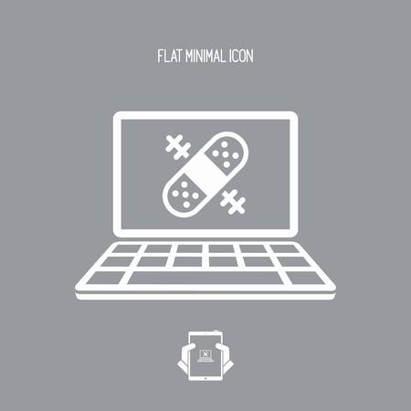 Servicio de asistencia de reparación de Cumputer - icono de la web de Vector