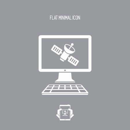 Aplikacja satelitarna - płaski ikona wektor Ilustracje wektorowe