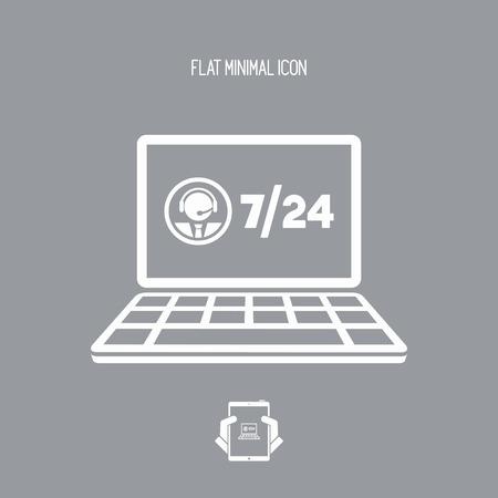 7/24 asistencia informática - icono plano de Vector
