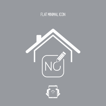 Real estate or hotel concept - Confirm of client decision - Vector web icon