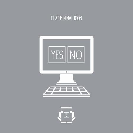 incorrect: Checkbox computer decision - Minimal vector icon