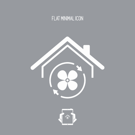 aeration: House air conditioner - Vector web icon