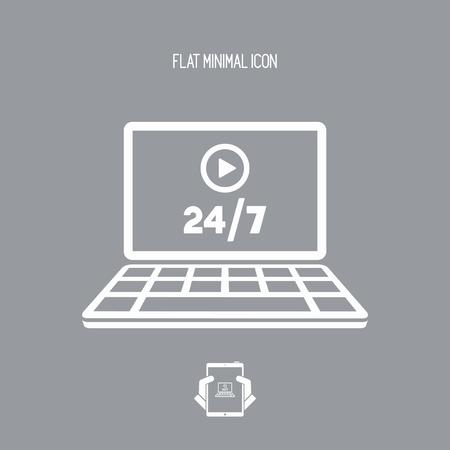 マルチ メディア サービスのオンライン 247 - ベクトル フラット アイコン