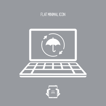 Full computer protection - Vector flat icon