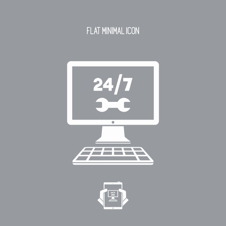 laptop repair: Full time computer repair or customize assistance - Vector flat icon