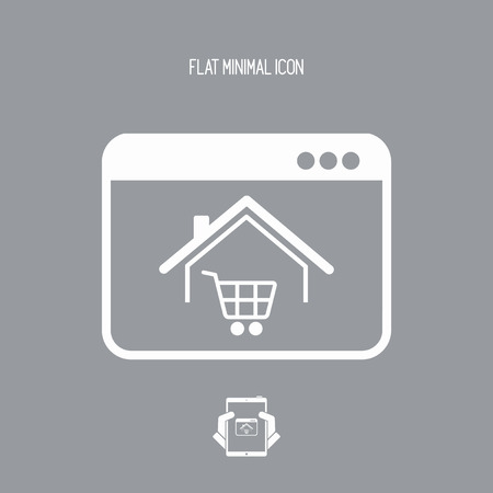 E-shopping and house delivery - Vector icon for computer website or application