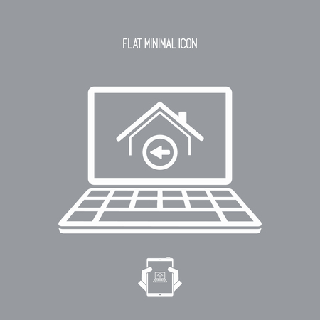 building site: Back home button - Vector flat icon