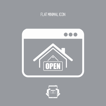 Home and open signboard - Vector icon for computer website or application