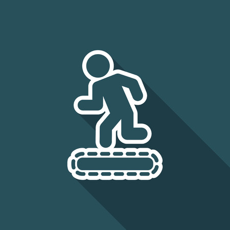 Vector illustration of treadmill or tapis roulant single isolated icon Vettoriali