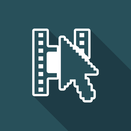 Illustration of single isolated web video icon.