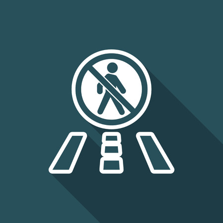 Illustration of single isolated forbidden walk icon.