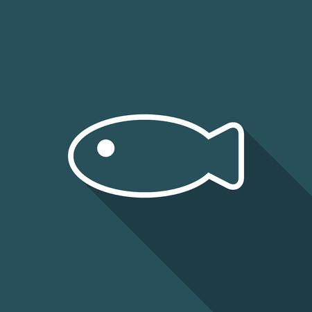 Illustration of single isolated fish icon.