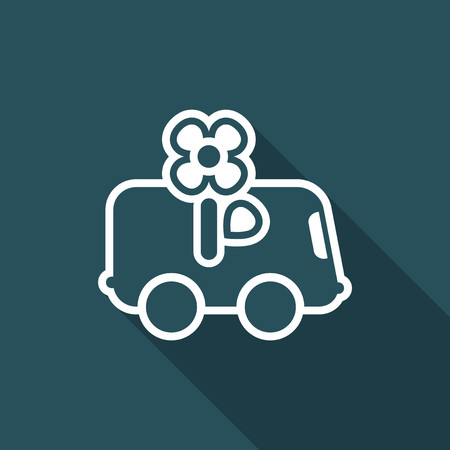 Illustration of single isolated flower delivery icon.
