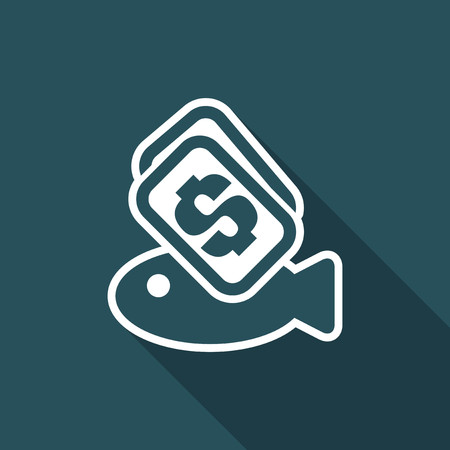 Vector illustration of single isolated fish buy icon