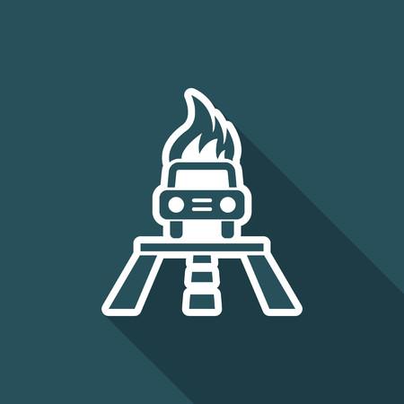 Illustration of single isolated car burning icon. Stock fotó - 74681839