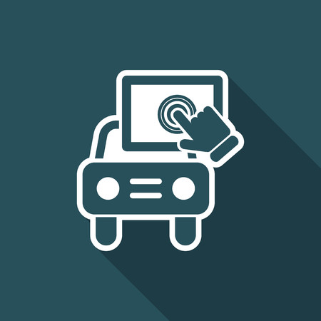 tablet pc in hand: Touchscreen car device Illustration