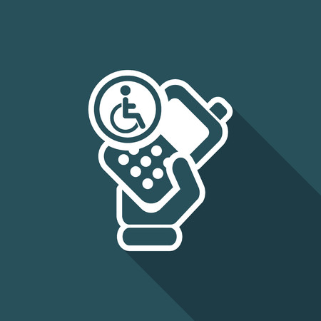 cellulare: Vector illustration of single isolated handicap phone icon