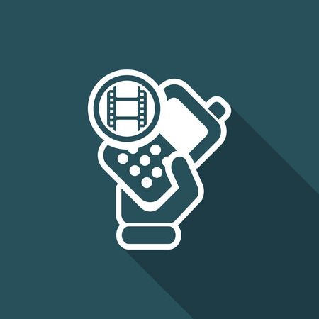 cellulare: Vector illustration of single isolated phone video icon