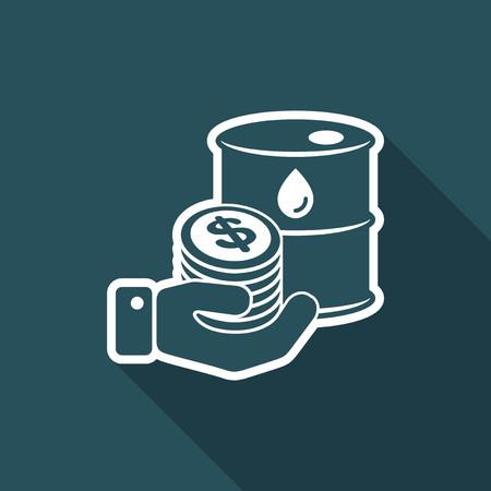 oil drum: Oil price flat icon Illustration