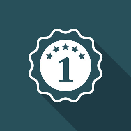 1 year warranty: The number one - Best rating symbol - Vector flat minimal icon