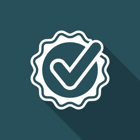 Checkmark on ribbon - Vector flat minimal icon Illustration