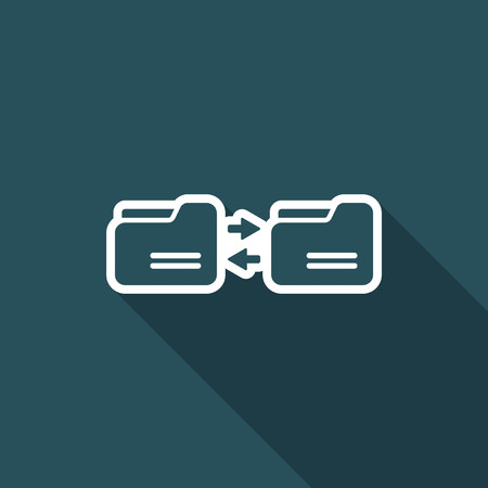 shared sharing: Synchronize folders - Minimal flat icon Illustration