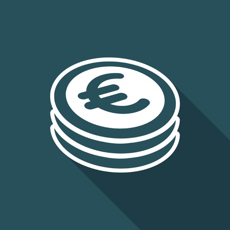 remuneration: Euro coin flat icon