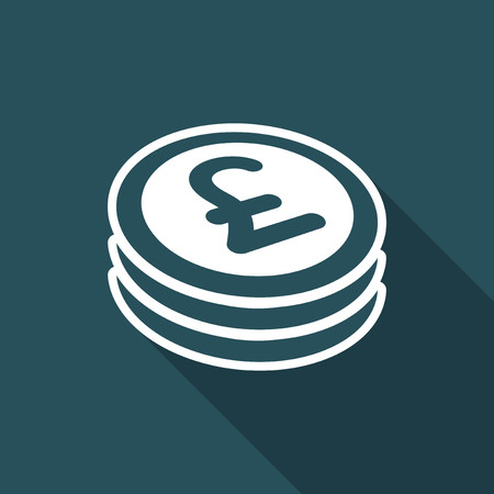 remuneration: Sterling coin flat icon Illustration