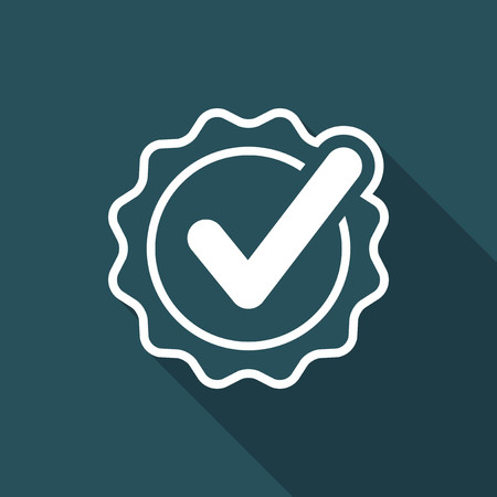 Checkmark certificate - Vector flat minimal icon Illustration